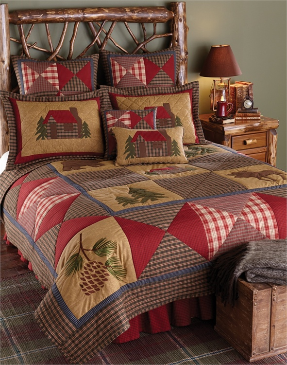 Cabin quilt quilted bedding for Home designs comforter