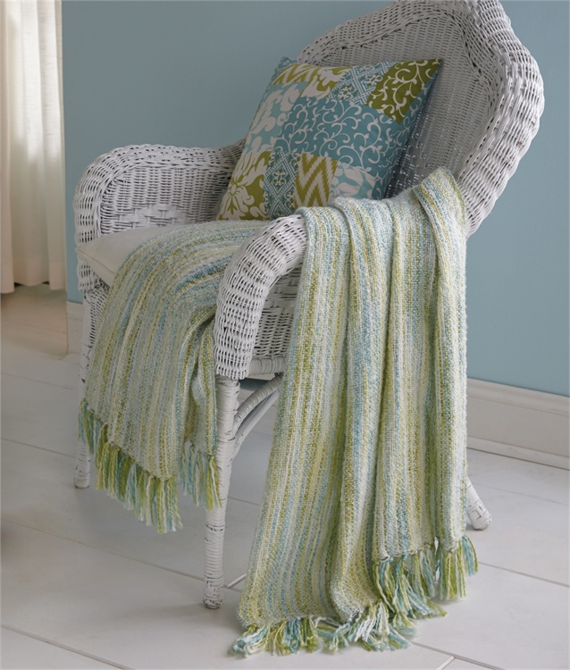 Blue green multi space dyed throw park designs for Space design blanket