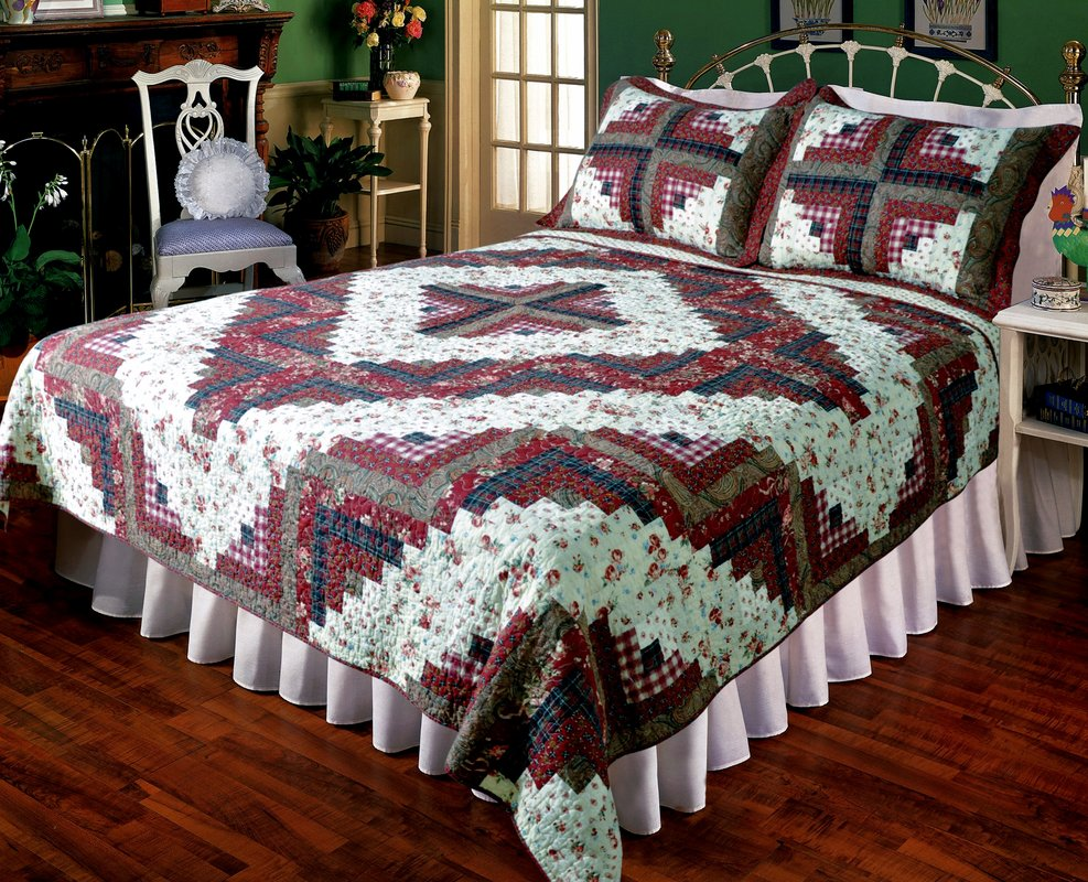 Ruby Log Cabin Quilt Set Elegant Decor