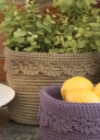Round Basket with Crochet Edge - Large